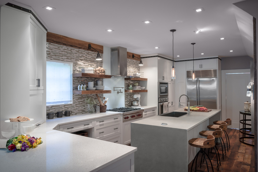 Caesarstone is used as the surface choice in this light and bright kitchen