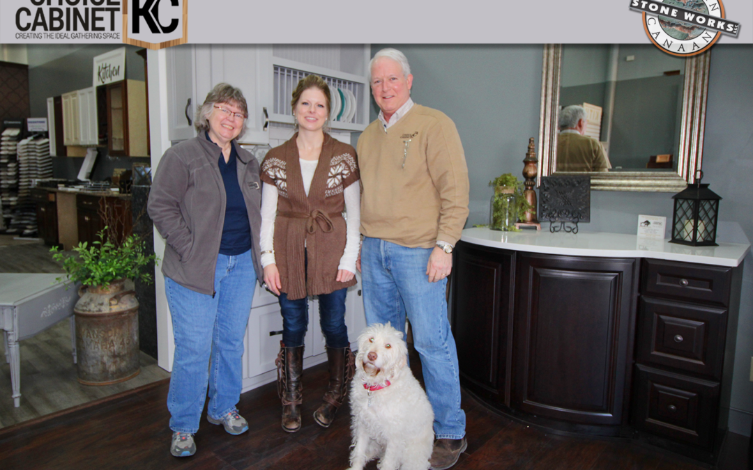 The team at Choice Cabinet, from left to right; Debbie Hickman - Administrative Specialist, Natalie Merrill, Designer, and Karl Dunivent, Owner