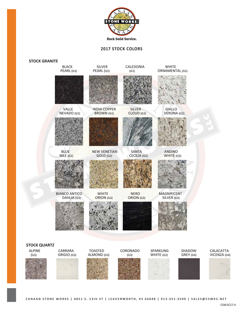 Stock granite and stock quartz available at CSW