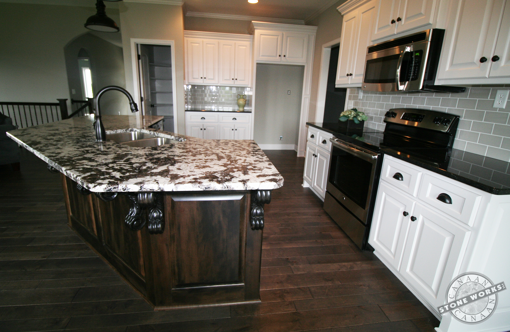 Canaan Stone Works custom fabricated countertops, Olympus Custom Builders, Light and dark finishes, new Home, Pine Grove Limited, Kansas City, MO