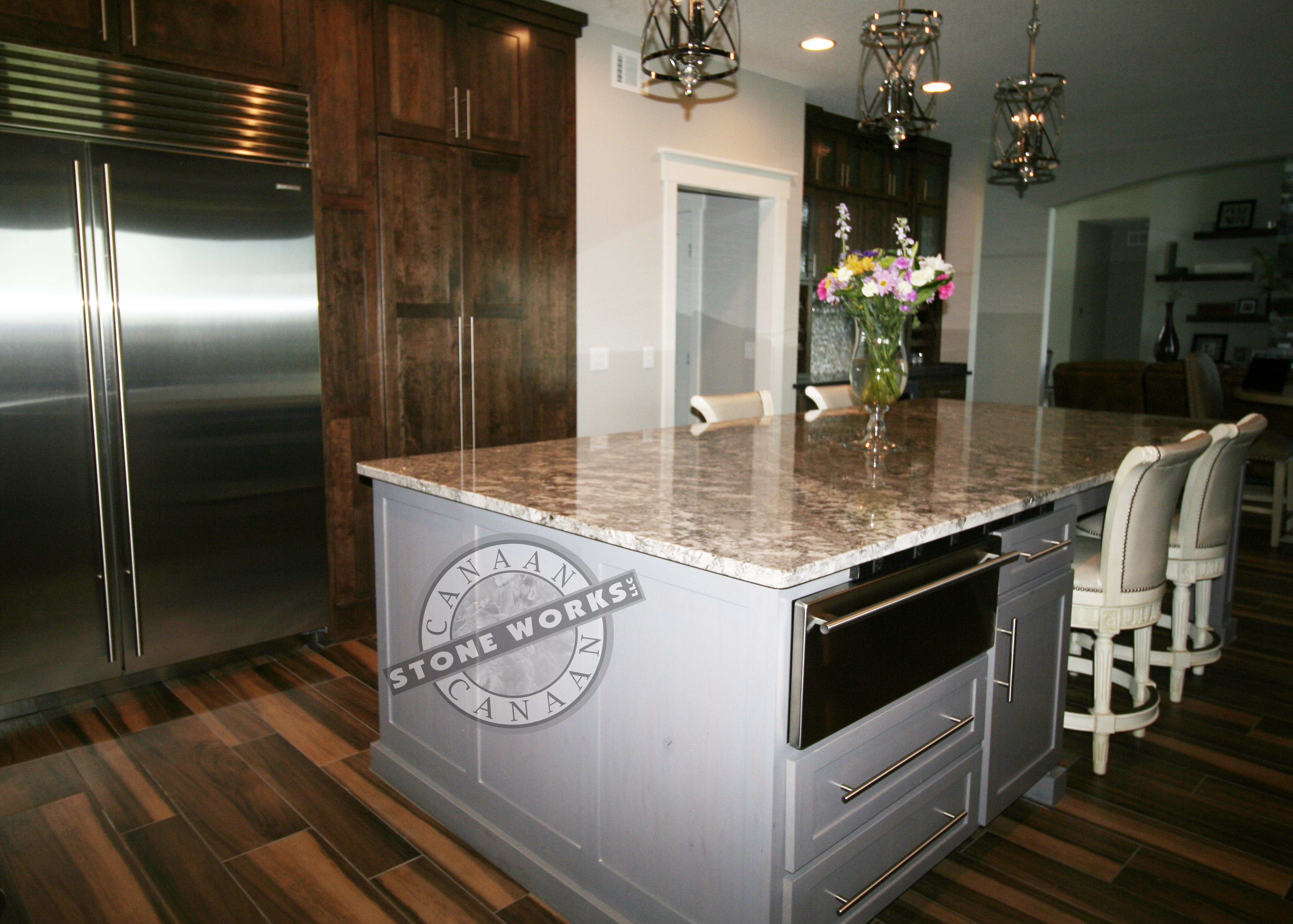 Bianco Antico, granite, stock product, kitchen island, focal point, CL Conus Builders, Piper Lakes