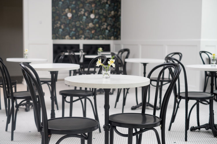 MONARCH pedstal tables fabricated by the team at Canaan Stone Works using Calacatta Vicenz Quartz