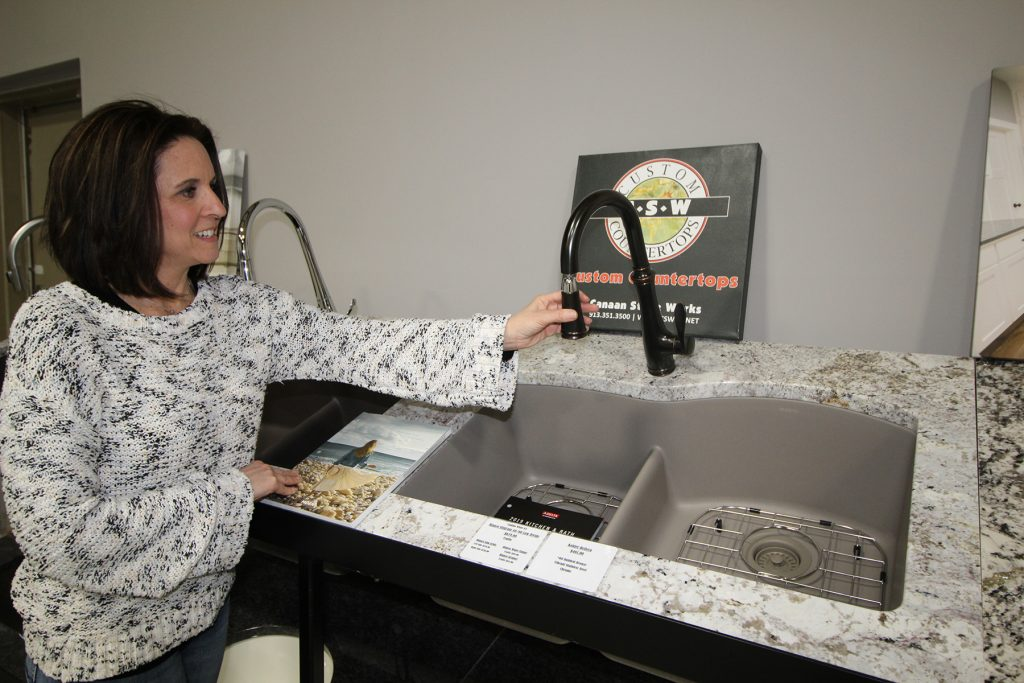 From sinks to faucets, large stone slabs and products to clean and protect your granite and/or quartz countertops
