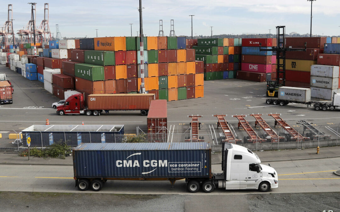 Containers awaiting transport